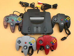 N64 Nintendo 64 Console + UP TO 4 NEW CONTROLLERS + Cords + CLEANED INSIDE