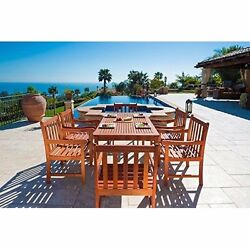7 Piece Wood Patio Outdoor Dining Set with Slatted Back Armchairs Eco-Friendly