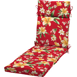 Chaise Lounge Cushion Patio Floral Pillow Chair Replacement Pool Outdoor Red