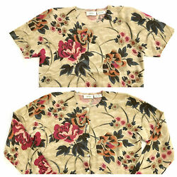 Neiman Marcus Cashmere Cardigan Sweater 2pcs Twinset Top Floral Gold Thread Sz L