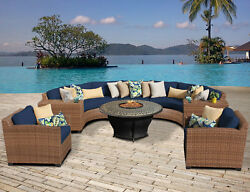 Laguna Outdoor Wicker Patio 8 Piece Fire Pit Seating Group with Cushion TKCL2579