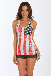 Ladies Tank Top with American Flag Colors Distressed USA 102DFL $12.99