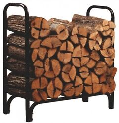 Outdoor Log Rack Firewood 4-Feet Fireplace Wood Storage Holder Carrier Steel