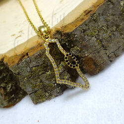 """Gold """"Land of Israel"""" CZ Stainless Steel Necklace $28.00"""