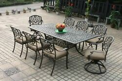 Elizabeth 9-Piece Cast Aluminum Patio Furniture Dining Set - Antique Bronze