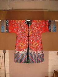 Beautiful Silk Ladies Imperial Chinese Red 5-clawed Dragon Robe - Qing Dynasty