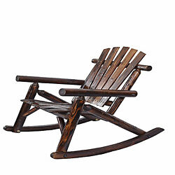 Rocking Chair Wooden Porch Back Seat Antique Adirondack Furniture Outdoor Home
