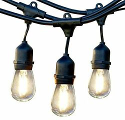 Retro Outdoor LED String Lights Weatherproof 48ft Deck Patio (15 Bulbs Included)