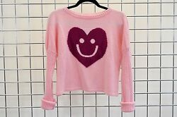 LITTLE MISS MATCHED GIRLS PINK KNITTED HAPPY HEART DETAIL SWEATER SIZE L
