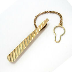 14 Kt Gold Tie Bar with Safety Button Chain Vintage