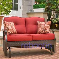 Patio Furniture Covers Loveseat Outdoor Glider Bench Red Cushion Wicker Brown