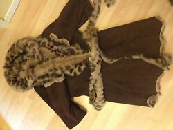 NWT $2895 ORIGINAL LEATHER GENUINE SHEARLING FUR BROWN LEOPARD COAT JACKET 6m