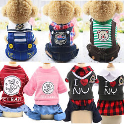 Cute Small Dog Summer Cotton Clothes Puppy Striped Jumpsuit Pet Cat Coat Costume $7.99