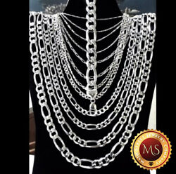 ITALY 925 SOLID Sterling Silver FIGARO Chain Necklace - Bracelet  7