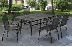 Wrought Iron Patio Furniture 7 Piece Set Table Chair Outdoor Dining Bistro Best