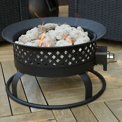 Portable Fire Pit Propane Campfire 18.5 in. Outdoor Garden Patio Dark Bronze NEW