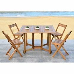 Patio Dining Set 5pc Garden Folding Table Chairs Portable Wood Veranda Furniture