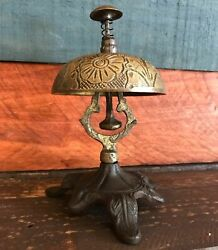 Solid Brass Ornate Hotel Working Desk Bell On Stand W Antique Patina Finish $29.99