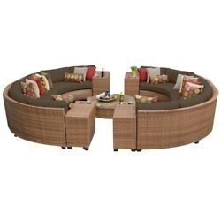 TKC Laguna 11 Piece Outdoor Wicker Sofa Set in Cocoa