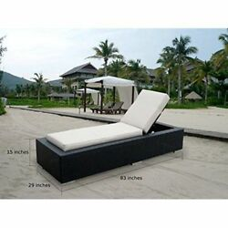Patio Lounge Set Outdoor Wicker Furniture Chaise Chairs Cushioned 2 PC Beige