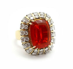 14k Yellow Gold 2.70ct Diamond and 6.64ct Mexican Fire Opal Ring