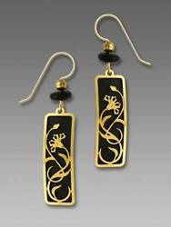 Adajio Earrings Black Column Gold Plated Nouveau Flower Overlay Handmade in USA
