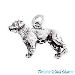 Labrador Retriever Lab Dog Breed 3D 925 Solid Sterling Silver Charm MADE IN USA $18.95