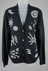 Womens Libertine Black Cashmere Embellished Cardigan Sweater Top Size M