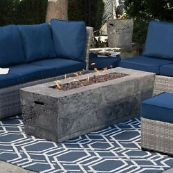 Gas Fire Pit Table w FREE Cover Glacier Stone 60 in. Backyard Garden Patio NEW