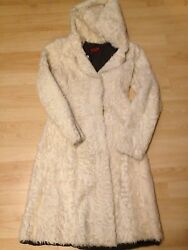 NWT $12500 CREAM CURLY GOAT FUR COAT Jacket w HOOD Made in ITALY 40S4 Slim 6