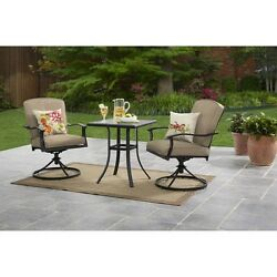 Bistro Set 3 Piece Outdoor Table And Chairs Furniture Cushions Modern Garden New