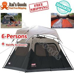 Coleman 6-Person Instant Cabin Tent Family Camping Outdoor W Rainfly Accessory