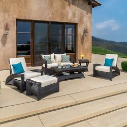 Pacific 6-piece Seating Set - All-Weather Woven Resin Wicker Sunbrella Fabric