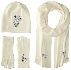 La Fiorentina Women's Jeweled Cashmere Scarf Hat and Glove 3 Piece Set Ivory
