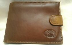 VERA PELLE  FRANCINEL Italian Leather Men's Wallet 8 Slot Button Snap Zippered