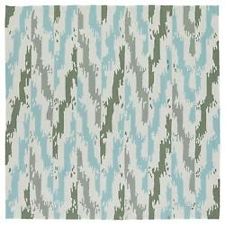Seaside Ivory And Blue Ikat IndoorOutdoor Rug (7'9 X 7'9 Square)