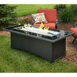 Outdoor Fire Pit Table Black w Free Burner Cover Compatible Either LP or NG NEW