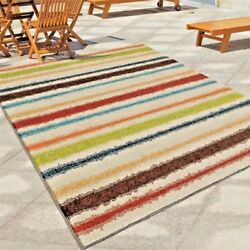 RUGS AREA RUGS OUTDOOR RUGS INDOOR OUTDOOR RUGS CARPET STRIPED COLORFUL RUGS NEW