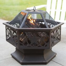 Outdoor Fire Pit Home Yard Patio Backyard Deck Wood Burning Fireplace Heater New
