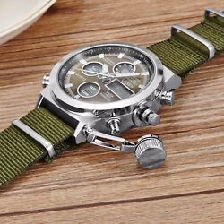 Men Military Army Green Analog Digital Quartz Nylon Canvas Wrist Watch Sport US $17.81