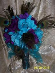 MAKE OFFER 21pc Wedding Peacock Feathers bridal bouquet  SILK turquoise purple