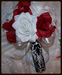 MAKE OFFER  Wedding bridal bouquet SILK flowers red white black damask CUSTOM