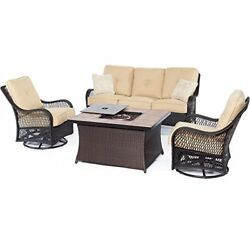 Moden Woven Lounge Set w Fire Pit Table 4 Piece Outdoor High Quality Beige NEW