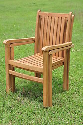 Qty 2 - Cahyo Grade-A Teak Wood Dining Stacking Arm Chair Pair Outdoor Furniture