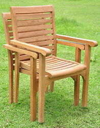 Qty 2 - Hari Grade-A Teak Wood Dining Stacking Arm Chair Pair Outdoor Furniture