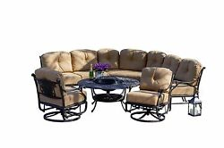 Outdoor Patio Furniture Balmoral 8-Piece Cast Aluminum Sectional Seating set