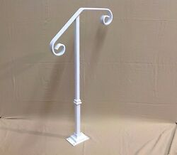 NEW Handrail Wrought Iron 1-2 steps Steel Grab Rail Single Post Railing  $145
