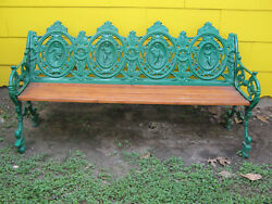 ANTIQUE CAST IRON FIGURAL PARK BENCH 5.5 FOOT LONG