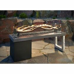 Fire Pit Table w 56 in. Wave Burner Effect Propane 150000 BTU High Quality NEW
