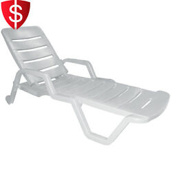 Stackable Patio Chaise Lounge Chair Outdoor Pool Side Relaxing Furniture White